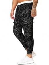 Casual Print Cargo Long Pants Men