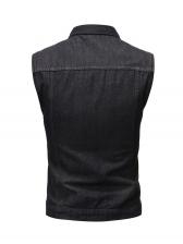 Fashion Solid Denim Men Waistcoat