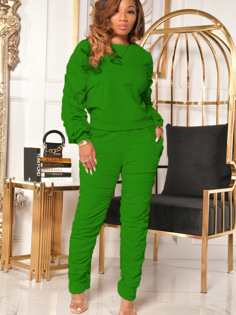 Solid Color Ruched Sweatshirt 2 Piece Outfits