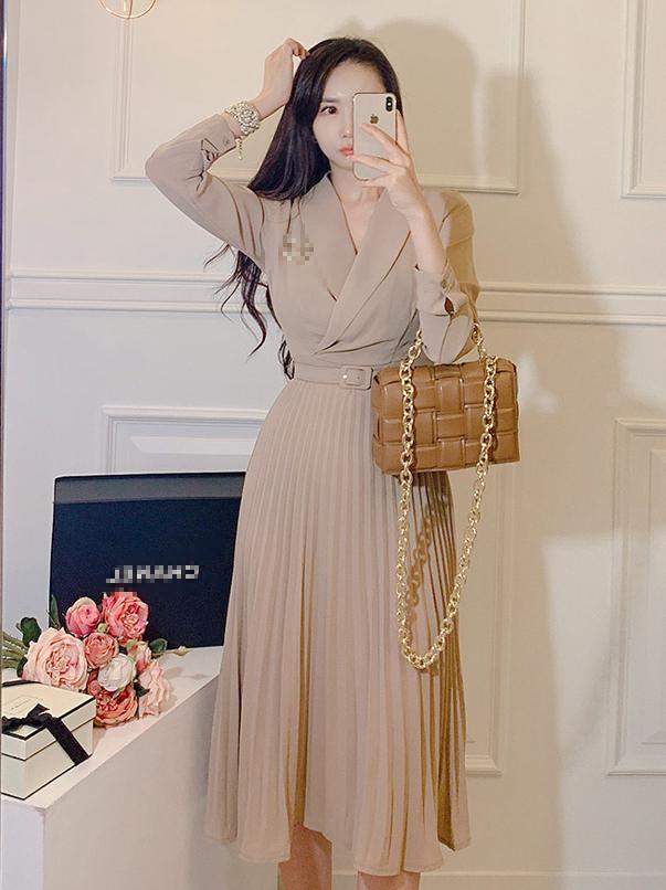 Elegant Solid Pleated Blazer Long Sleeve Midi Dress