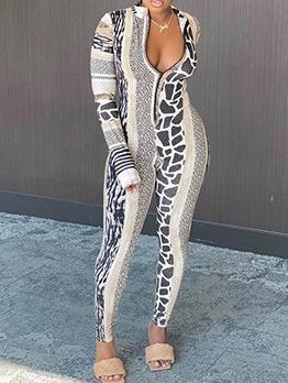 Stand Neck Leopard Print Skinny Jumpsuit