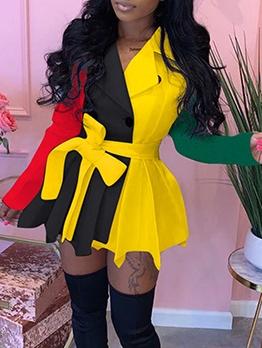 Contrast Color Long Sleeve Blazer Dress