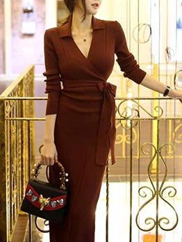 Korea Solid V Neck Long Sleeve Knitting Dress