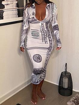 Turndown Neck Zipper Up Dollar Midi Dress
