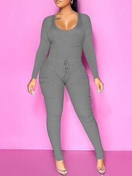 U Neck Long Sleeve Skinny Jumpsuit Pure Color