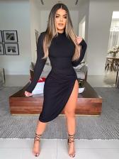 Twist High Split Hem Sexy Long Sleeve Dress