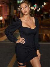 Fashion Square Neck Black Long Sleeve Dress