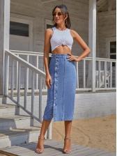 Buttons Up High Waist Denim Midi Skirt For Women
