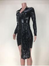 Irregular Design Deep V Neck Long Sleeve Mini Dress