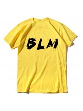 Letter Crew Neck Short Sleeve Mens Tee Shirts