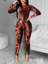 Snake Print Skinny Plus Size Two Piece Sets