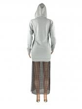 Chic Gauze Patchwork Long Sleeve Hoodie Dress