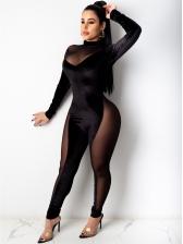 Skinny Gauze Patchwork Long Sleeve Jumpsuit