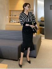 Elegant Striped V Neck Sweaters For Women