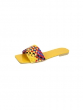 Colorful Woven Flat Square Toe Ladies Slippers