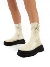 Side Zipper Round Toe Platform Boots Online