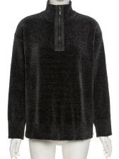 Black Easy Matching Autumn Casual Sweatshirt