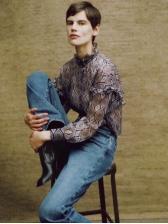 Fashion Snake Print Stand Collar Women Blouse