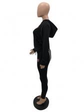 Casual Sport Black Two Pieces Pants Set