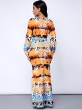 Sexy V Neck Digital Print Maxi Dress