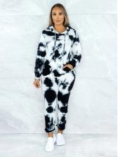 Fashion Contrast Color Hoodie 2 Piece Sets