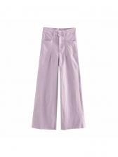 High Waist Solid Wide Leg Denim Pants