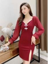 Sexy V Neck Long Sleeve Dress Fall