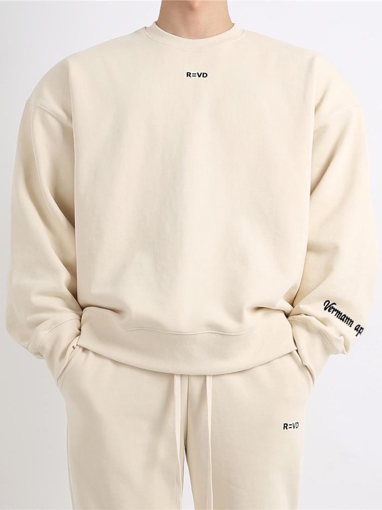 Loose Letter Print Crew Neck Sweatshirt For Sport