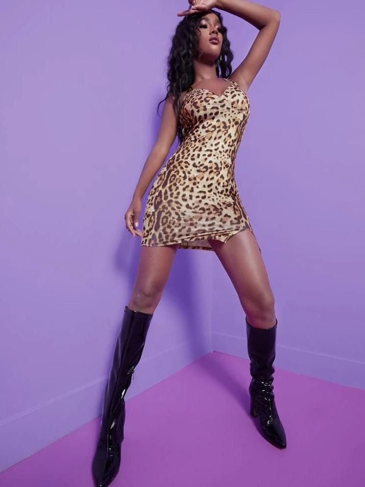 Fashion Leopard Print Bodycon Halter Dress