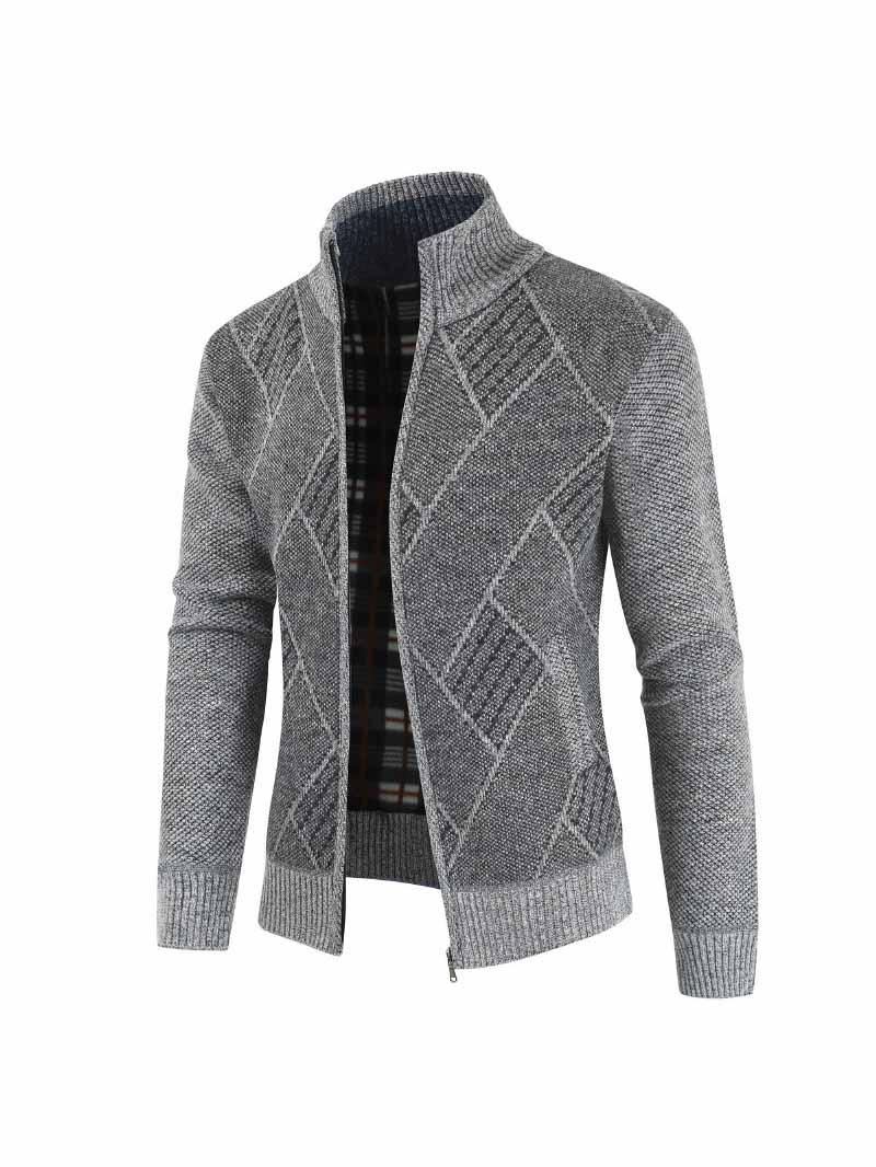 Casual Zip Up Stand Collar Knit Sweater