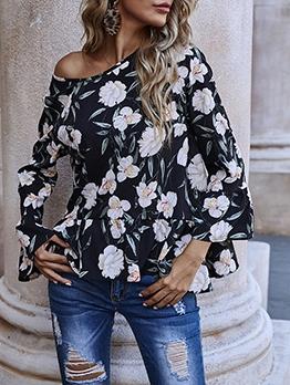 Euro Flower Printed Chiffon Long Sleeve Ladies Blouse