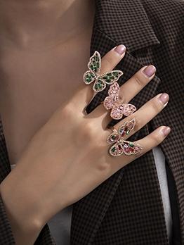 Rhinestone Stereo Butterfly Honey Girl Ring