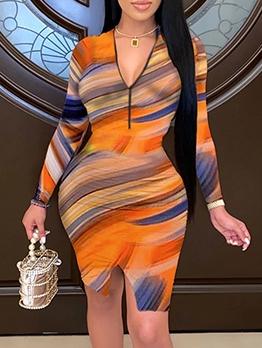 Multicolored Print Split Long Sleeve Plus Size Dresses