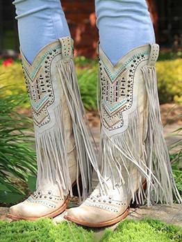 Vintage Tassels Rivets Cowboy Boots
