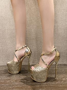 Glitter Peep-Toe Stilettos Platform Sandals