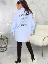 Back Letter Print Long Sleeve Shirt Dress