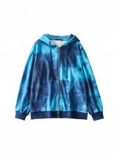 Preppy Style Tie Dye Loose Coat For Autumn