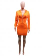 Fashion Solid Side Pockets Hooded Long Sleeve Dress