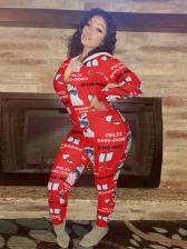 Christmas Printed Hooded Collar Long Sleeve Jumpsuit