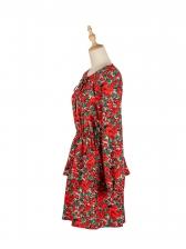 Euro Crew Neck Long Sleeve Floral Dress