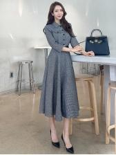 Stylish Button Down Plaid Long Sleeve Midi Dress