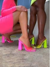 Chunky Heel PVC Square Neck Ladies Slippers