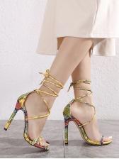Snake Printed Stilettos Women Lace Up Heels
