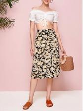 Daisy Floral Print Fashion High Waist Skirt