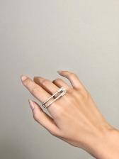 Geometric Design Noble Faux-Pearl Street Ring