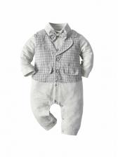 Contrast Color Plaid Newborn Sleepsuits