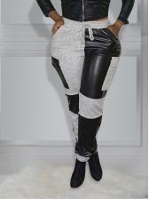 Fashion Pu Patchwork Long Pants Women
