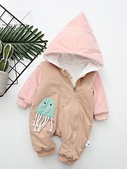 Cartoon Design Zipper Up Winter Rompers For Baby
