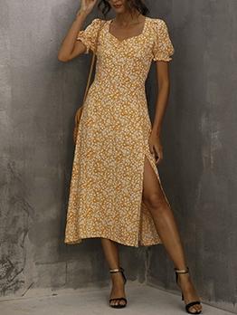 Ditsy Printed Slit Short Sleeve Summer Dresses