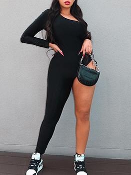 Irregular One Shoulder Black Bodycon Jumpsuit
